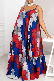 Red Sexy Print Split Joint High Opening Spaghetti Strap Sling Dress Plus Size Dresses