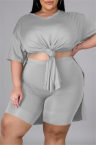 Grey Fashion Casual Solid Slit V Neck Tops Plus Size Two-piece Set