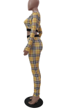 Orange Casual Plaid Split Joint O Neck Long Sleeve Two Pieces