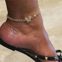 Gold Fashion Rhinestone Butterfly Pendant Double Row Diamond Anklet