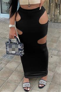 Black Sexy Casual Solid Hollowed Out Regular High Waist Skirt