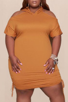 Brown Fashion Casual Plus Size Solid Hollowed Out V Neck Short Sleeve Dress