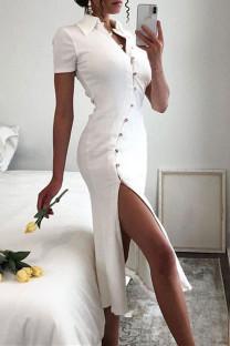 Cream White Fashion Casual Solid Buckle Slit Turndown Collar Short Sleeve Dress