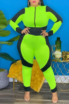Green Fashion Casual Patchwork Zipper O Neck Plus Size Two Pieces