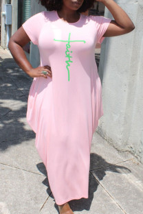 Pink Casual Print Split Joint Asymmetrical O Neck Short Sleeve Dress Plus Size Dresses