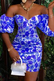 Deep Blue Elegant Print Split Joint Off the Shoulder A Line Dresses