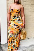 Orange Sexy Print Split Joint Frenulum Backless Strapless Straight Dresses