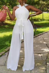 White Sexy Solid Mesh Halter Straight Jumpsuits