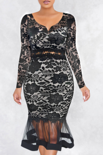 Black Sexy Solid Hollowed Out V Neck Cake Skirt Dresses