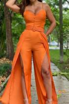 Orange Casual Solid Split Joint Slit Spaghetti Strap Straight Jumpsuits