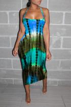Cyanine Sexy Print Split Joint Halter Pencil Skirt Dresses