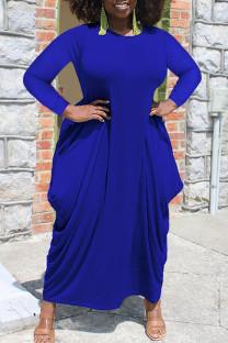 Blue Casual Solid Split Joint Asymmetrical O Neck Irregular Dress Plus Size Dresses