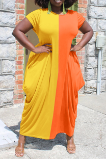 Yellow Casual Solid Split Joint O Neck Straight Dresses