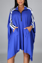 Blue Fashion Casual Patchwork Split Joint Turndown Collar Long Sleeve Dress