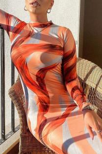 Orange Elegant Print Split Joint O Neck Pencil Skirt Dresses