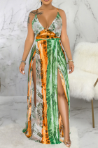 Green Sexy Print High Opening Spaghetti Strap Straight Dresses
