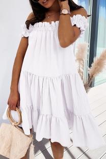 White Sweet Solid Split Joint Flounce Off the Shoulder Cake Skirt Dresses