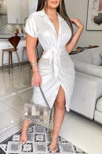 White Fashion Casual Solid Bandage Turndown Collar Short Sleeve Dress