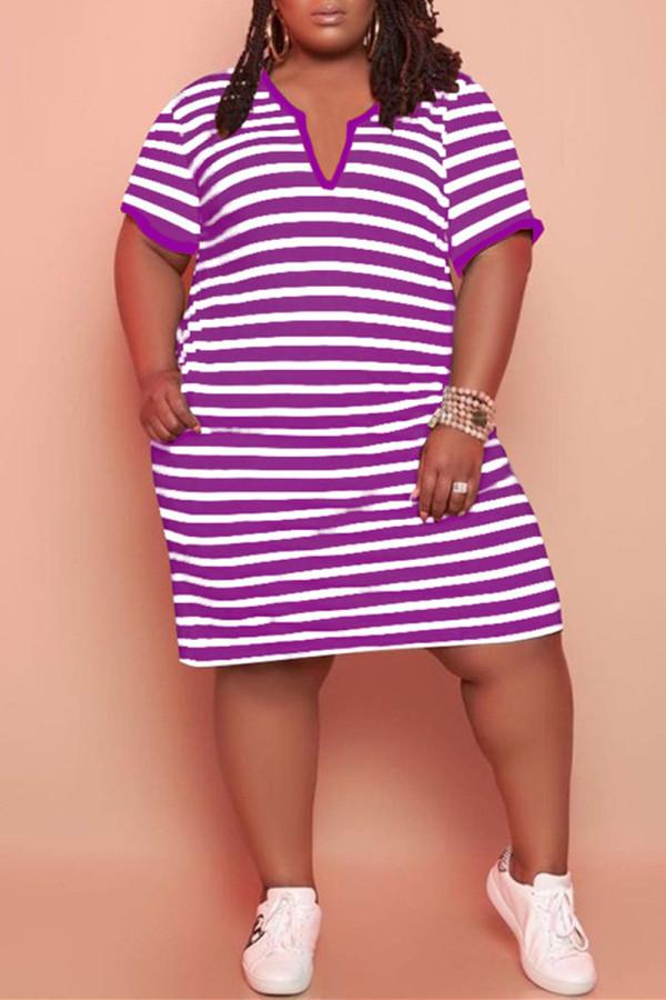 Purple Fashion Casual Plus Size Striped Print Basic V Neck Short Sleeve Dress