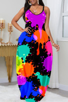 Purple Sexy Casual Plus Size Print Backless Spaghetti Strap Sleeveless Dress