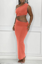 Orange Fashion Sexy Solid Backless One Shoulder Sleeveless Two Pieces (Without Waist Chain)