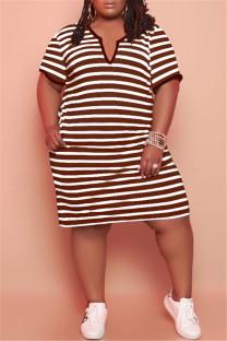 Dark Brown Fashion Casual Plus Size Striped Print Basic V Neck Short Sleeve Dress