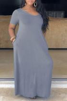Grey Fashion Casual Plus Size Solid Basic V Neck Short Sleeve Dress