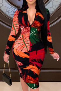 Red Fashion Casual Print Basic Zipper Collar Printed Dress