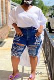 Dark Blue Fashion Plus Size Broken Hole Denim Pants