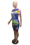 Blue Casual Letter Tie Dye Printing O Neck Short Sleeve Two Pieces