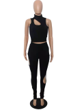 Black Sexy Solid Hollowed Out Half A Turtleneck Sleeveless Two Pieces