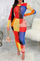Red Yellow Sexy Print Mesh O Neck Pencil Skirt Dresses