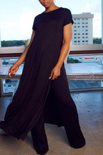 Black Casual Solid Split Joint Slit O Neck Plus Size Two Pieces
