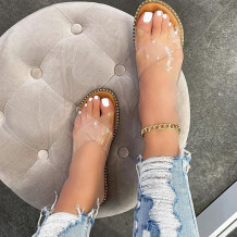 Transparent Color Fashion Casual Hollowed Out Split Joint Solid Color Comfortable Slippers