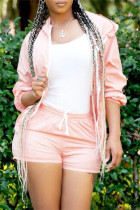 Light Pink Fashion Casual Solid Basic Hooded Collar Long Sleeve Two Pieces