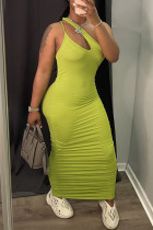 Yellow Sexy Casual Solid Hollowed Out Fold One Shoulder Sleeveless Dress