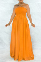 Orange Sexy Casual Solid Backless Strapless Regular Jumpsuits