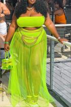 Fluorescent Green Sexy Solid Mesh Strapless Plus Size Swimwear