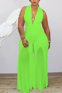 Fluorescent green Fashion Sexy V Neck Solid Stitching Plus Size