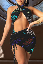 Black Fashion Sexy Print Hollowed Out Backless Halter Sleeveless Two Pieces