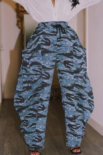 Blue Street Print Split Joint Pocket Loose High Waist Straight Full Print Bottoms