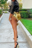 Gold Sexy Solid Flounce Skinny High Waist Pencil Solid Color Bottoms