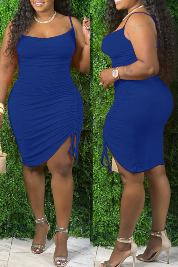 Blue Fashion Sexy Plus Size Solid Draw String Backless Spaghetti Strap Sleeveless Dress