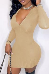 Khaki Casual Solid Split Joint V Neck Pencil Skirt Dresses
