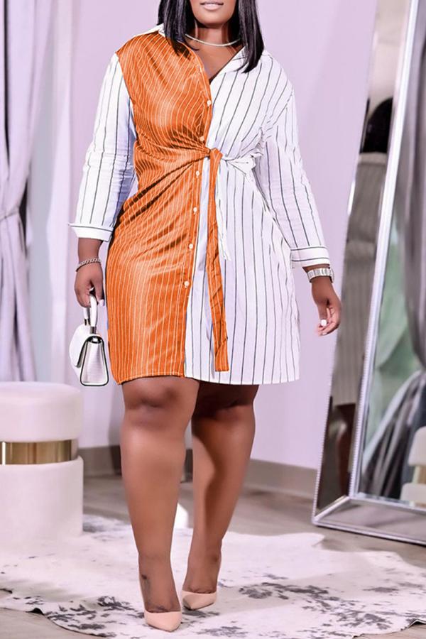 Tangerine Red Casual Striped Split Joint Turndown Collar Shirt Dress Plus Size Dresses