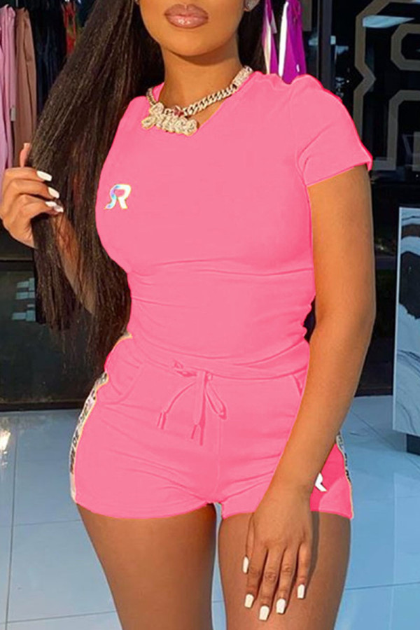 Pink Fashion Casual adult Ma'am Letter Two Piece Suits Straight Short Sleeve Two Pieces
