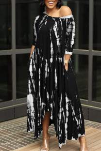 Black British Style Print Split Joint Asymmetrical O Neck Irregular Dress Dresses