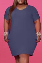 Tibetan Blue Fashion Casual Plus Size Solid Basic V Neck Short Sleeve Dress