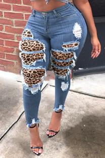 Medium Blue Fashion Casual Leopard Split Joint Plus Size Jeans