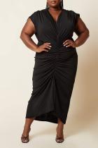 Black Casual Solid Split Joint V Neck Plus Size Dresses